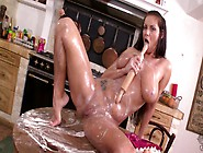 Fabulous Black Haired Milf With Huge Tits Plays With Milk In Kit
