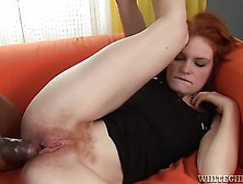 Barbara Gets A Massive Cock In Her Tight Hairy Redhead Pussy By