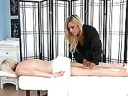 The Gorgeous Blonde Massage Therapist Got A Beautiful Babe On He