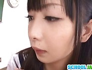 Asian School Girl In A Sexy Uniform Gets To Suck On Two Small Co