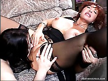 Two Gothic Lesbian Cougars Use A Double Headed Dildo To Please E