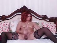Red Head Milf Tranny Strokes Her Big Shaft