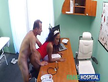 Fakehospital Tight Ebony Pussy Gets 2 Cum Loads From Doctors Fat