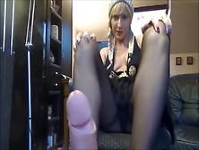 Naughty German Teen Blonde In Nylon Stockings Giving A Footjob L