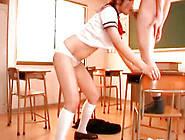 Japanese Student In Lingerie Is Giving Blowjob To Small Teacher