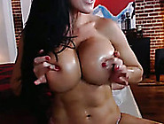 Crazy Brunette Babe With Enormous Fake Tits On Webcam