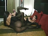 3 Girl Lesbian Nylon Orgy