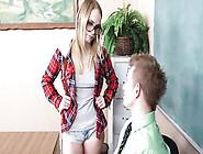 Nerdy Blonde Student In Eyeglasses Seduces Her Teacher