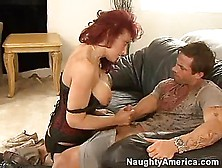 Red Headed Momma Nikki Sinn Stuffs Her Soaked Throat With A Youn