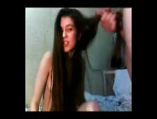 Sexy Teen Hairjob And Cum In Hair,  Long Hair,  Hair