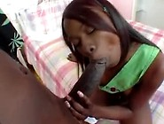 Black Teen Cutie Fingered In Pink Bedroom