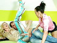 Beautiful Ladies In Sexy Satin Share His Throbbing Dick