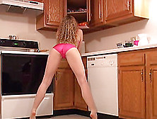 She Undresses And Exposes Her Pants In The Kitchen