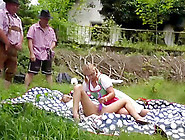 Wild German Lederhosen Outdoor Gangbang Party Orgy With Horny Ch