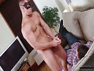 Cuffed Guy Watches Another Jerk Off