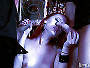 Horny Red Haired White Chick Got Fucked By Two Barman