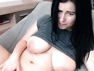 Hottie Big Boobs Brunette Masturbates With Toys And Squirts