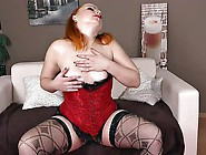 Chubby Solo Redhead In Stockings Fingers Her Tight Pussy