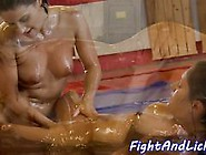 Oiled Wrestling Lesbos Fucking With Strapon