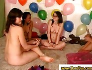 Teen Lesbians Play With Double Dildo In Amateur Sexparty