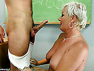 Sex-Starved Teacher Gives Her Student A Nice Blowjob