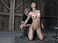 Slender Asian Bitch With Fake Boobs Bounded And Tortured In Barn