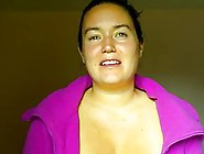 Nasty Milf,  In Purple Blouse Is Showing Her Smiling Face,  In Fro