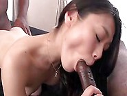 Brunette Japanese Wild Threesome With Two Stallions