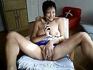 Sexy Oriental Granny Fucks Himself Having A Dildo
