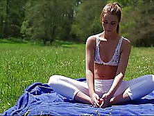 Slim Blonde,  Alexis Crystal Is Doing Yoga In The Nature And Havi