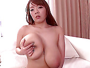 Japanese Milf Plays With Her Gigantic Natural Boobs And Sucks A