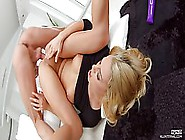 Kinky Blonde Is Stimulating Her Clit With A Vibrator,  While Gett