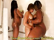 Three Chubby Girls Are Showering Together And Having A Blast