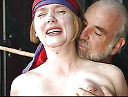 Cute Young Blonde With Perky Tits Is Restrained For Nipple Clamp
