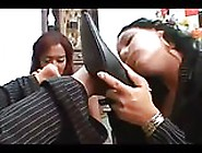 Brazilian Lesbians Group Feet Shoes Sniffing & Masturbating