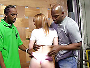 Horny Blond Is Stuck In Between Two Huge Black Dicks
