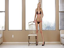 Tall Blonde Is Pleasing Herself