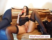 Hot German Wife In Stockings With Dildo