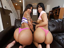 Rose Monroe & Spicy J Bounce Asses Threesome