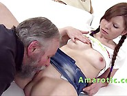 Sweaty Threesome With Her Grandad And Her Horny Boyfriend