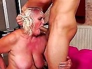 Salacious Granny Judi Gets Her Pussy Pounded And Filled With Cum
