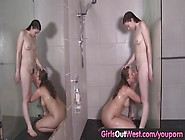 Girls Out West - Aussie Hairy Lesbians Have Oral Sex In The Show