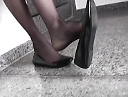 Naughty Ballerina Carmen Dangling Her Lovely Black Shoes On The