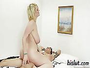 Big Tited Blonde Slut Is Riding Her Partner'S Hard Dick,  While H