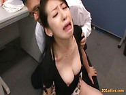 Secretary Fucked With Vibrator While Giving Blowjob Cum To Tits