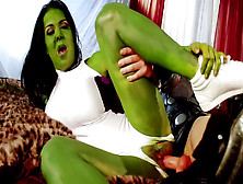 Green-Skinned Babe Is Sucking A Hard Cock