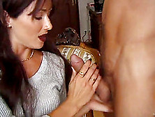 Catherine Count,  Wearing Panties And A Bra,  Gives A Hot Blowjob