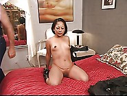 Ponytailed Dude Whips Roped Latina's Tattooed Ass