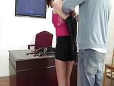 Office Perils Bell Davis In Leather Armbinder Hogtie