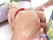 Big Ass Blonde Got Oiled Up And Fucked Hard Until She Started Mo